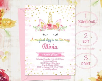 Unicorn 1st Birthday Invitation Etsy
