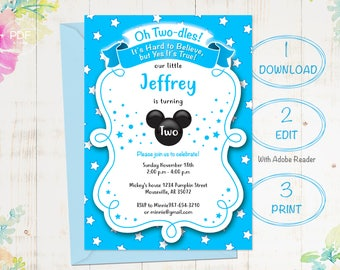 2nd Birthday Invitation Mickey Invitations Baby Boy Instant Download Editable Template