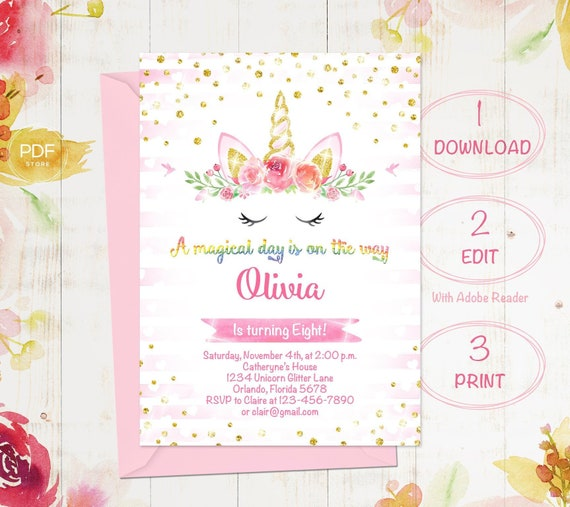 Unicorn Birthday Invitation Magical Floral Pink Gold 1st Girl Instant Download