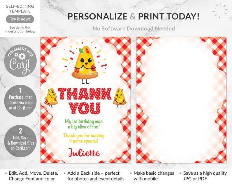 Pizza Party Editable Thank You Card First Birthday Girl Pizza Birthday Party Join Us for a Slice of Fun Italian Party Instant Download