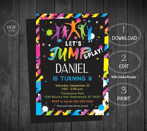 Jump Invitation Trampoline Party Bounce Boy Birthday Etsy