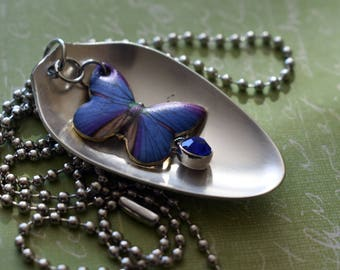 Vintage Spoon Necklace with a Blue Butterfly and Gem / Unique Upcycled Jewelry / Handmade