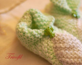 Hand knitted baby booties white and green