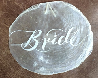 Handwritten Capiz Shell Place Cards Hand lettered name tag Gift Beach Wedding Decorations For Table Raw Shell Place Setting Nautical Favors