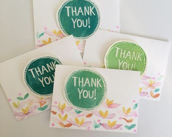 Set of 4 - Floral Thank You Cards