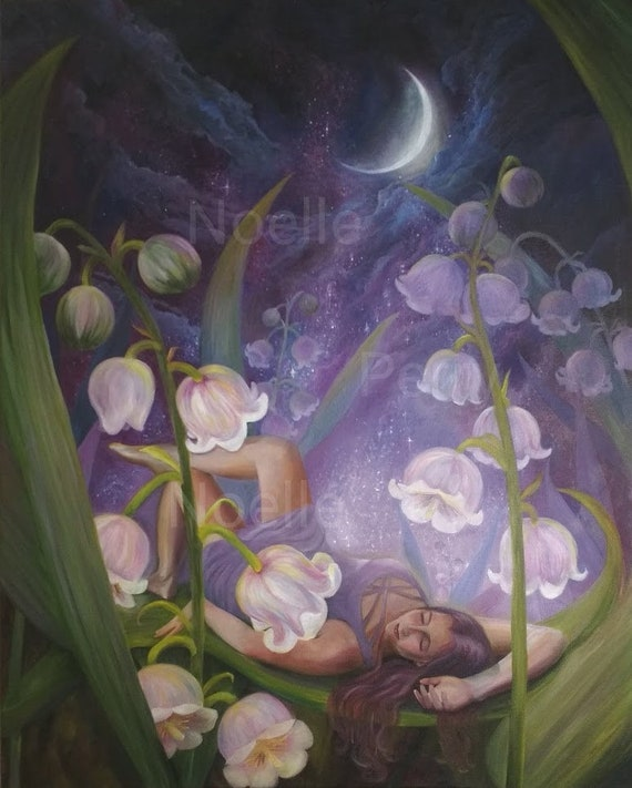 Sleeping Fairy In Lilies Of The Valley Original Oil Painting Etsy