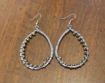 Gold and bronze seed bead hoop earrings