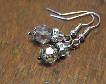 Smokey glass petite drop earrings with sparkly bead spacers