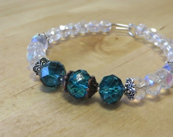 Bracelet and hoop earring set - teal and clear glass crystals