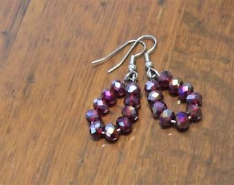 Petite red crystal drop earrings