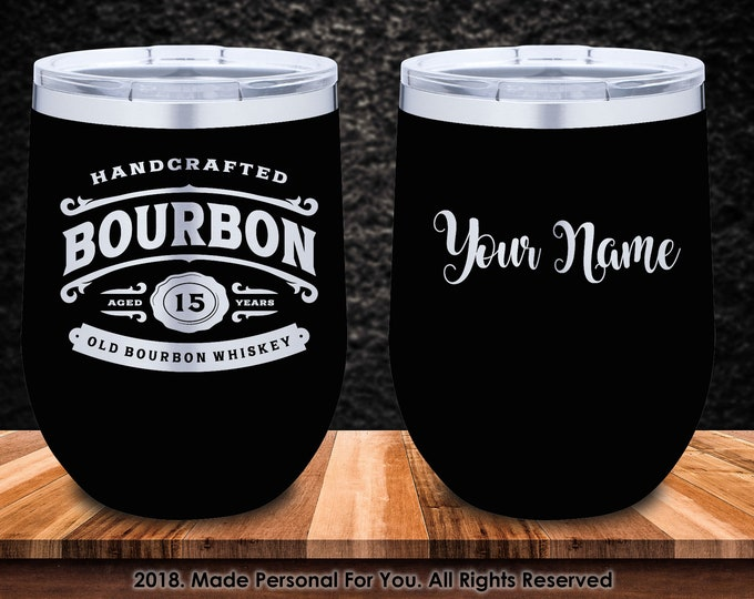 Featured listing image: Double Insulated 12/20/30oz Stainless Steel Bourbon Tumbler. Laser Engraved. Bourbon Sipping Design with YOUR NAME