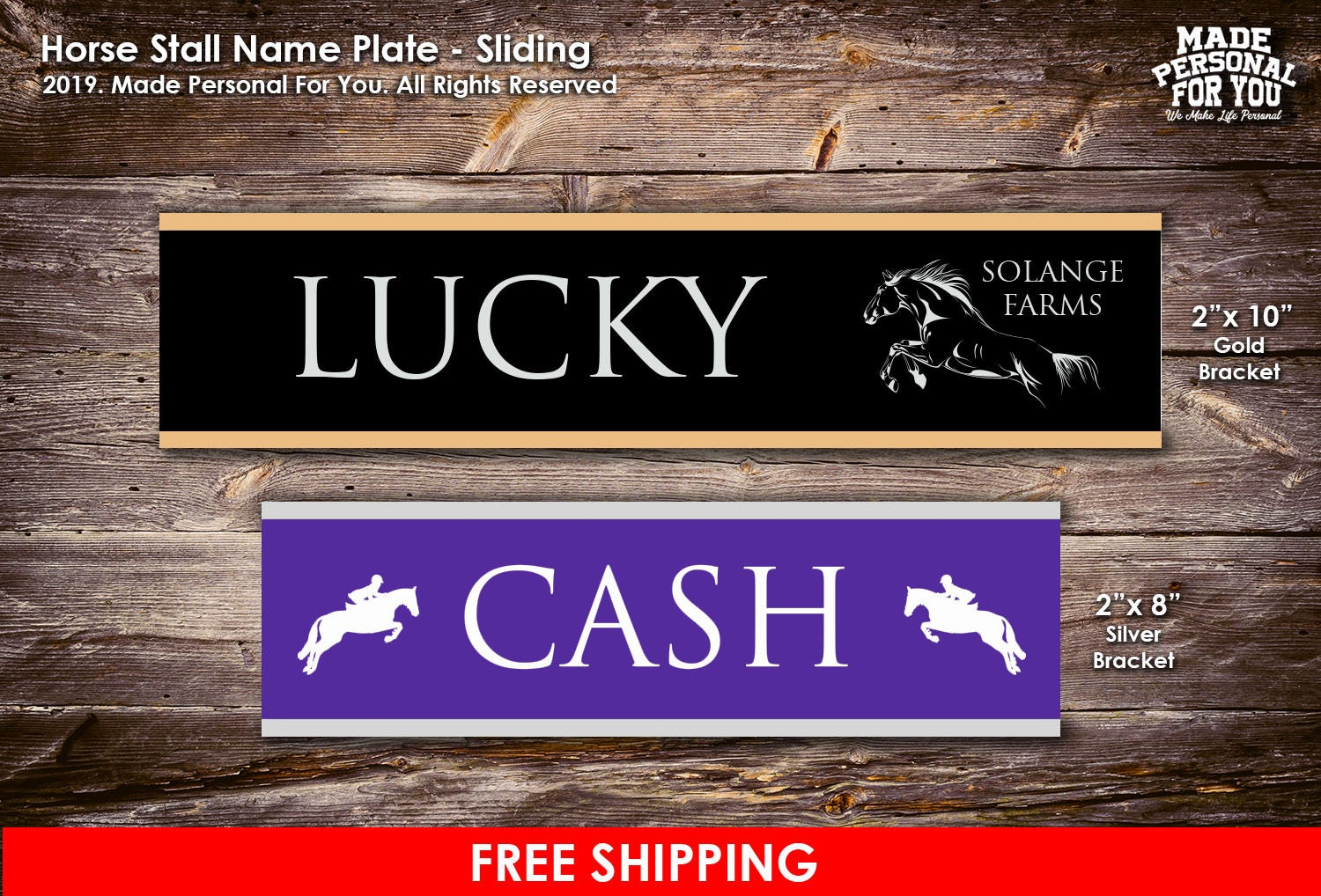 Sliding Horse Stall Name Plate Laser Engraved Personalization Two Sizes