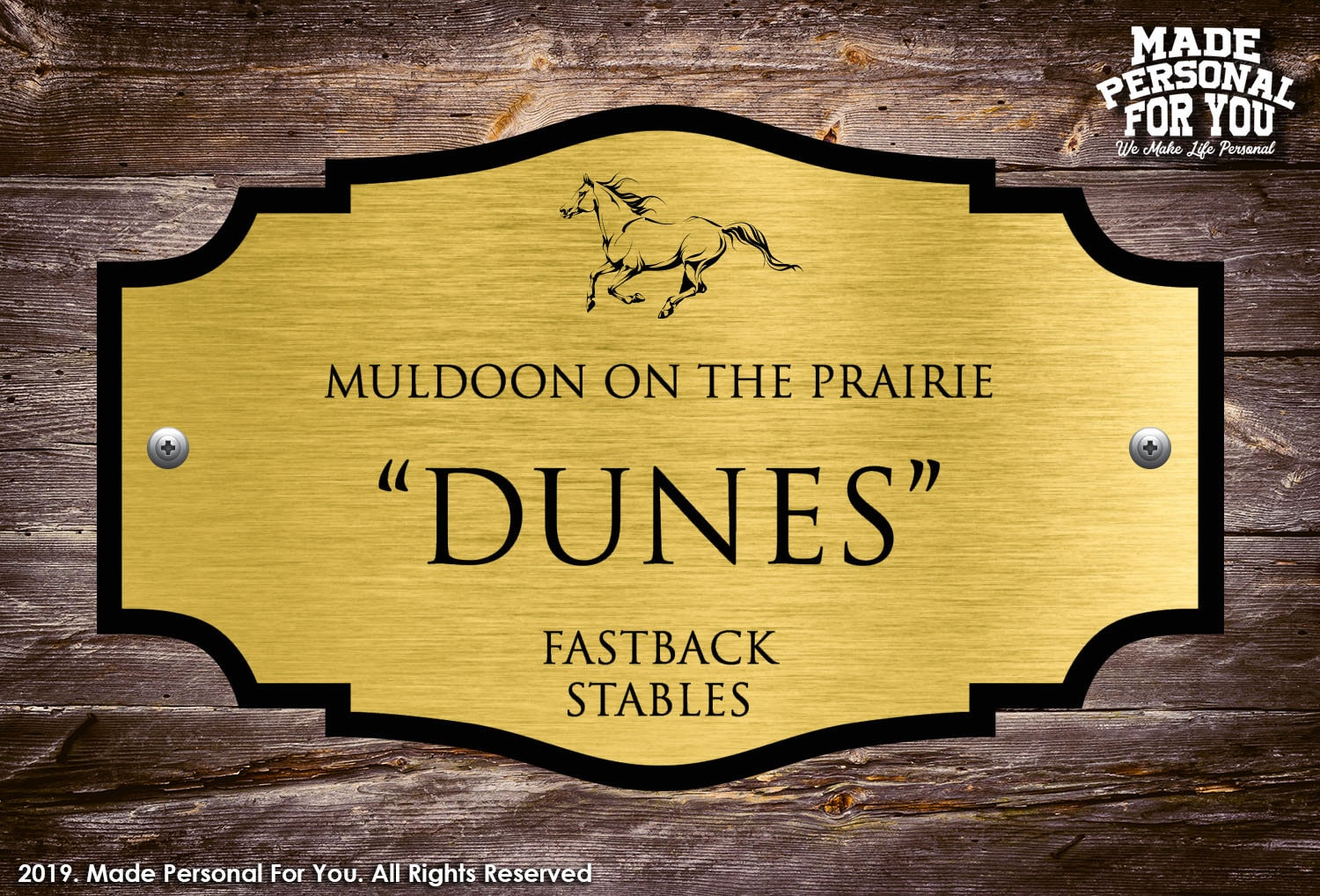 Horse Stall Name Plate Laser Engraved Personalization Ranch Design