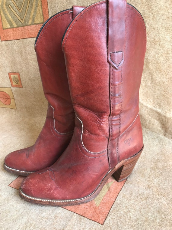 588f6429c2f Vintage Frye Womens Cowboy Boots Red Leather Western Stack Heel Sz 6 B