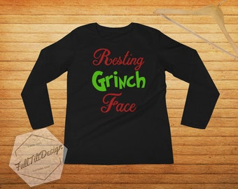9af2d8d3f5cb6 Disney Shirts - Resting Grinch Face Funny And Cute Christmas Ladies' Long  Sleeve How The Grinch Stole Christmas Holiday T-Shirt Girls