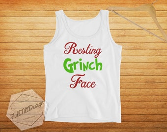 7c3675f3083b0 Resting Grinch Face Funny And Cute Christmas Ladies  How The Grinch Stole  Christmas Holiday Tank Top