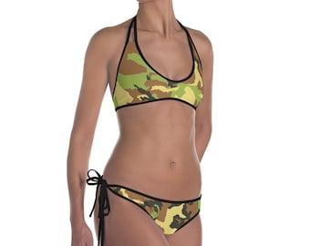 Camouflage Pink/Green Reversible Bikini