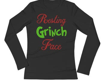 Resting Grinch Face Ladies Long Sleeve T-Shirt