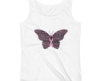 Breast Cancer Awareness Butterfly Hope Ladies' Tank