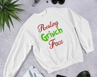 9838d2e3cd1473 Resting Grinch Face Cute and Funny Christmas Holiday Grinch Sweatshirt