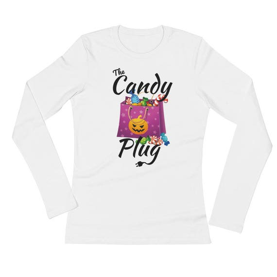 The Candy Plug Funny HalloweenLadies' Long Sleeve T-Shirt