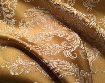 Jacquard Royal (22)-140 x 140 cm gold/light beige furnishing Fabric