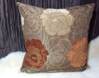 Chenille Cushion Brown/Orange/beige 55 x 55 cm, high quality designer fabric, modern cushion