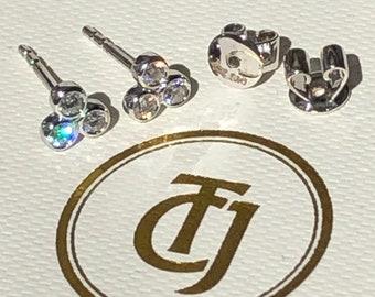 0.18tcw G/SI1 Genuine Diamond Stud 'Cherry Bud' 18ct 18k Solid White Gold Earrings
