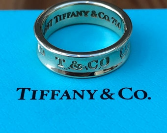 Tiffany & Co. Vintage 6mm Wide Solid 18ct Yellow Gold 1837 Ring US Size 6.5