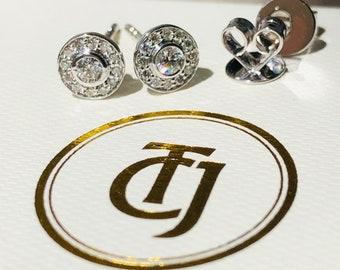 0.28tcw G/SI1 Genuine Diamond Bezel Halo Earrings in 18ct 18k Solid White Gold