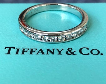 Tiffany & Co. 0.33tcw Diamond Half Eternity Band Platinum 3mm wide