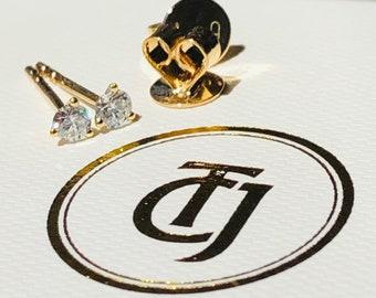 0.20tcw G/SI1 Genuine Diamond Martini Set Mini Earrings 18ct 18k Yellow Gold