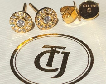 0.28tcw G/SI1 Genuine Diamond Bezel Halo Earrings in 18ct 18k Solid Yellow Gold