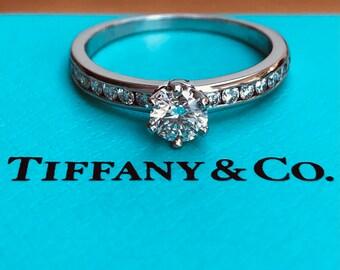 Tiffany & Co. 0.60tcw F/VS2 Diamond Engagement Ring w/ Accent Diamonds Cert/Val