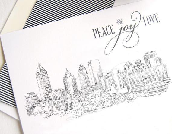 Atlanta Skyline Christmas Cards Georgia Holiday Cards Xmas Cards Holiday Party Invitations Set Of 25