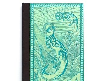Refillable Journal/ River Otter/ Magnetic Book/ Writing Journal/ Handmade Book/ Wood & Vegan Leather Book/ Jade/ Brown/ Black/ Teal