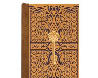 Refillable Journal/ Magnetic Book/ Writing Journal/ Handmade Book/ Wood & Vegan Leather Book/ Spellbook/ Enchanted Key/ Honey/ Green/ Black