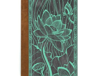 Refillable Journal/ Magnetic Book/ Gifts for mom/ Gardening/ Writing Journal/ Handmade Book/ Wood & Vegan Leather Book/ Lotus/ Flower