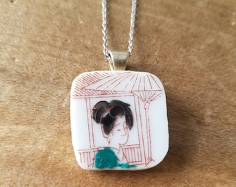Vintage Nippon Geisha Girl dinner plate saucer pendant necklace