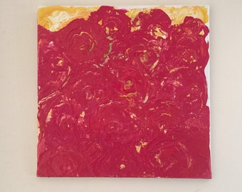 Red Flower Explosion in Daffodil Sunset - Original Painting by Somerset (UK) Artist Amanda Boorman