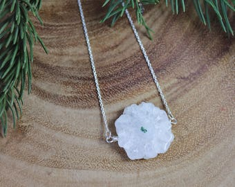 Stalactite Sterling Silver Pendant, Stalagmite, Bar Necklace, Natural, Necklace, Teardrop, Quartz Necklace, Wire Wrap, Ready to Ship
