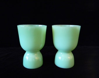 Two Fire King Jadite Egg Cups