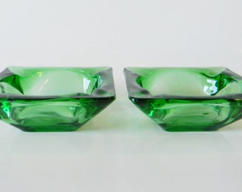 Two Forest Green Anchor Hocking Ashtrays