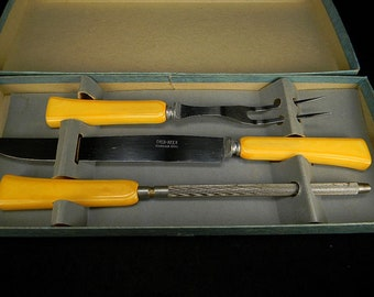 Carving Set with Butterscotch Bakelite Handles in Original Box