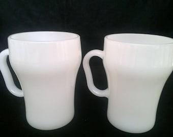 Two Fire King Anchorwhite Soda Mugs