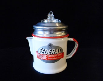Federal Enamelware Coffee Pot with Original Label & Crystal Glass Percolator Dome