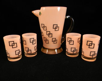 Mid Century Modern Pitcher & Four Tumblers by West Virginia Glass Co.