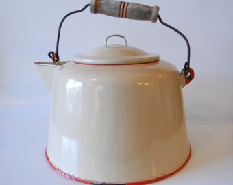 Cream Enamelware Tea Kettle with Red Trim & Wooden Bale Handle