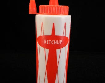 Plastic Red & White Ketchup Bottle