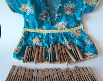 Colorful Clothespin Clothesline Bag with Clothespins